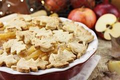 Jolie tarte aux pommes cuite au four photographie stock libre de droits