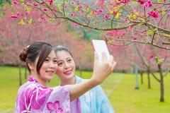 Jolies amies heureuses de touristes utilisant le kimono Images libres de droits