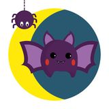 Jolies batte et araignée illustration libre de droits