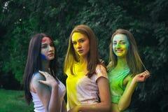 Jolies femmes de brune avec la poudre Holi sur leurs visages photo libre de droits