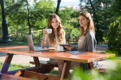 Jolies femmes s'asseyant dehors en café potable de parc utilisant l'ordinateur portable Images libres de droits