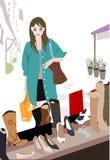 Jolies fille et chaussure illustration de vecteur