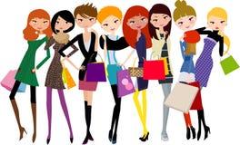 Jolies filles avec le sac à provisions Images libres de droits