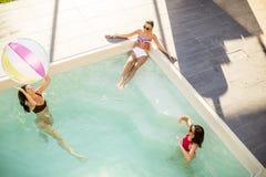 Jolies jeunes femmes jouant avec la boule dans la piscine Photos stock