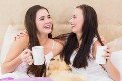Jolis amis ayant le café sur le lit Photographie stock