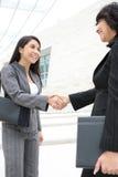 Jolis femmes à l'immeuble de bureaux se serrant la main Photographie stock libre de droits