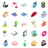Jollification icons set, isometric style. Jollification icons set. Isometric set of 25 jollification vector icons for web isolated on white background Royalty Free Stock Photos