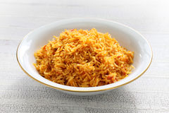 Jollof rice, west african cuisine. Close up Royalty Free Stock Photo