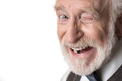 Jolly aging man being in good humor Royalty Free Stock Photo