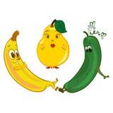 Jolly banana, sad cucumber and pear in between vector illustration
