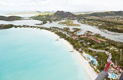 Jolly Beach Aerial View, Antigua. View from a helicopter to Jolly Beach and Jolly Harbor in Antigua Stock Image