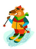 Jolly Bear carefree skiing. Royalty Free Stock Photo