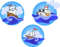 Jolly boats. Vector illustration of cartoon funny boats Stock Photo