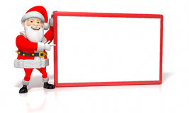Jolly Cartoon Christmas Santa Pointing at Blank Si Stock Image