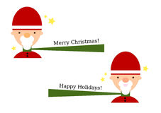 Jolly Cartoon Santa Set Stock Images