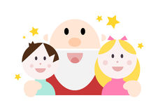 Jolly cartoon santa with two happy kids Stock Image