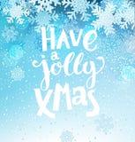 Jolly Christmas Greeting Card con i fiocchi di neve Fotografie Stock Libere da Diritti