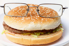 Jolly clever sandwich with glasses Stock Photography