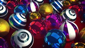 Merry Cristmas Sparkling Balls. A jolly 3d illustration of glowing glass balls for Christmas fir trees. They stick together in a pile and look festive. They are Royalty Free Stock Photos