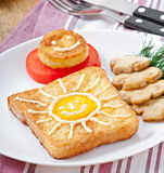 Jolly egg sandwich Royalty Free Stock Photos