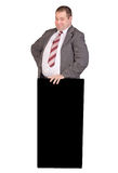 Jolly fat businessman. Isolated on white background Stock Photos