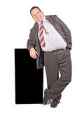 Jolly fat businessman. Isolated on white background Stock Images