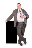 Jolly fat businessman. On white background Royalty Free Stock Photography