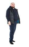 Jolly Fat Man in Donkere Warme Kleren Royalty-vrije Stock Afbeeldingen