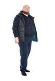 Jolly Fat Man in Donkere Warme Kleren Stock Foto