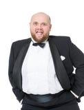 Jolly Fat Man i smoking- och flugashowsinnesrörelser arkivfoto