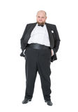 Jolly Fat Man in Tuxedo and Bow tie Shows Emotions Royalty Free Stock Photography