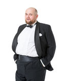 Jolly Fat Man in Tuxedo and Bow tie Shows Emotions Royalty Free Stock Image