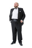 Jolly Fat Man in Tuxedo and Bow tie Shows Emotions Royalty Free Stock Photos
