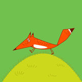 Jolly Fox runs across the grass amusing cartoon style illustration  green background Stock Photos