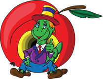 Jolly green caterpillar. On a background of red apple Royalty Free Stock Images