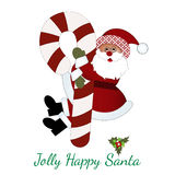 Jolly Happy Santa. Hugging a Christmas  Candy cane  (Pattern on brim of hat Stock Images