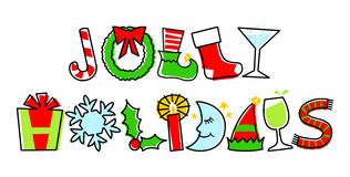 Jolly Holidays Christmas Icons/eps. Cute Christmas icons replace the letters in this headline wish for jolly holidays vector illustration