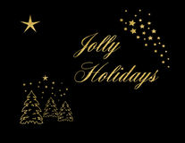 Jolly Holidays Gold Sparkle Stock Photography