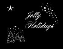 Jolly Holidays White op Zwarte Stock Afbeeldingen