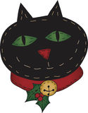 Jolly Holly Folk Art Cat Royalty Free Stock Images