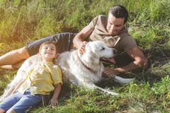 Carefree family playing with their pet. Jolly male and boy are lying on sunlit grassland with white dog, happy kid is leaning against the animal and smiling stock photos
