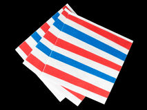 Red white and blue striped napkins, serviettes - isolated Royalty Free Stock Photos