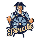 Jolly pirate at the helm of ship. vector illustration Stock Image
