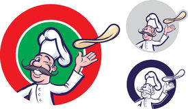 Jolly pizza chef. Vector illustration of jolly winking chef tossing dough pizza. Easy-edit layered vector EPS10 file scalable to any size without quality loss stock illustration