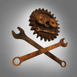 Jolly rodger made of rusty wrenches and gearwheels, fallout post apocalyptic style mechanic emblem render side view Royalty Free Stock Photos