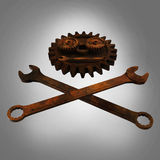 Jolly rodger made of rusty wrenches and gearwheels, fallout post apocalyptic style mechanic emblem render side view Royalty Free Stock Image