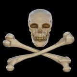 Jolly Roger. Skull and two intersecting bones on a black background Royalty Free Stock Photo