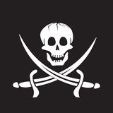 Jolly Roger. Skull and crossed swords symbol vector illustration
