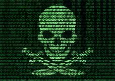 Jolly Roger auf bin?r Code-Hintergrund lizenzfreie abbildung