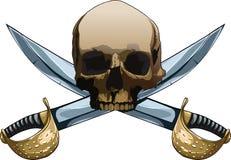Jolly Roger avec des épées illustration stock